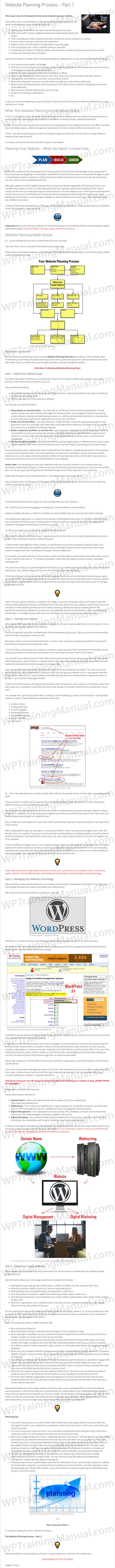 Tutorial: How To Plan Your Website - Part 1 - WPTrainingManual.com