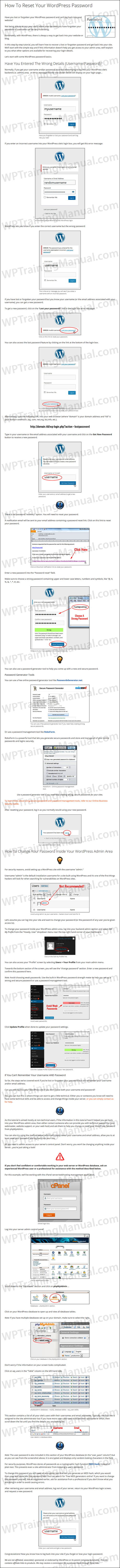 Tutorial: How To Reset Your WordPress Password - WPTrainingManual.com