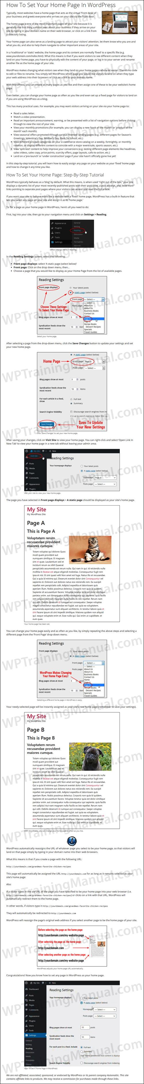 Tutorial: How To Set A HomePage For Your Website - WPTrainingManual.com