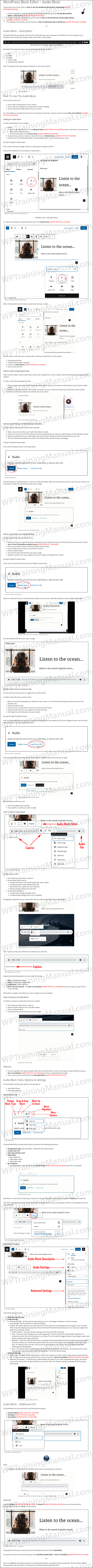 White Label Tutorial: WordPress Block Editor - Audio Block - WPTrainingManual.com