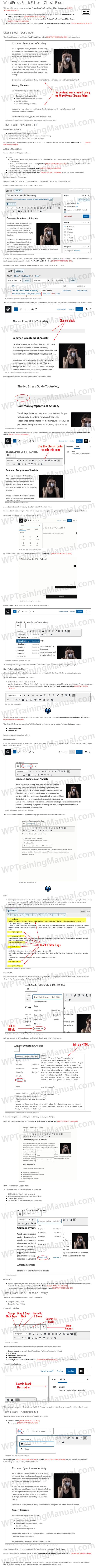 White Label Tutorial: WordPress Block Editor - Classic Block - WPTrainingManual.com