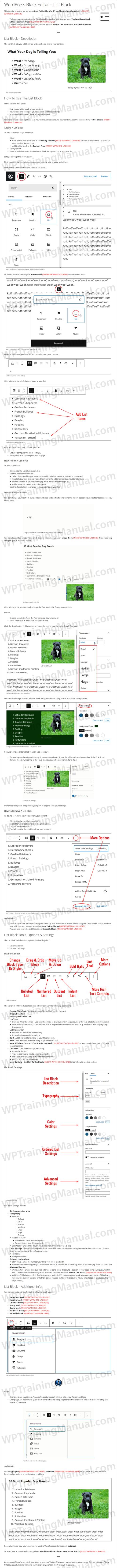 White Label Tutorial: WordPress Block Editor - List Block - WPTrainingManual.com