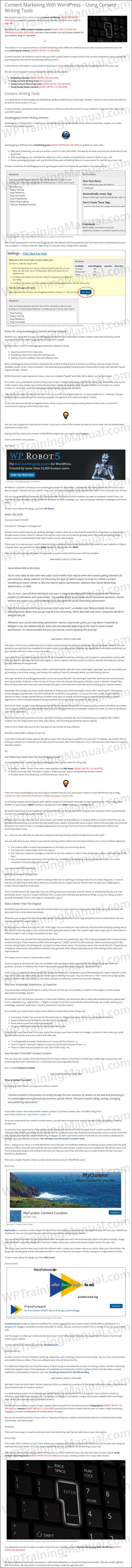 White Label Tutorial: Content Writing Tools - WPTrainingManual.com