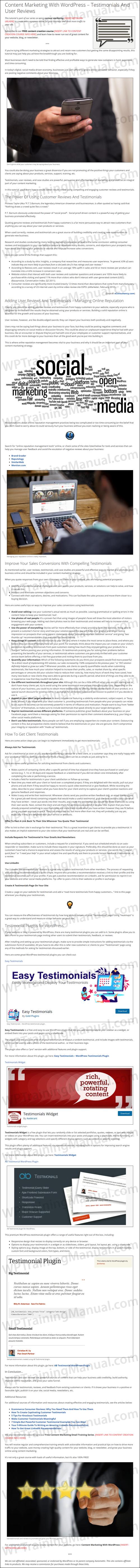 White Label Tutorial: Content Marketing With WordPress - Testimonials And User Reviews - WPTrainingManual.com