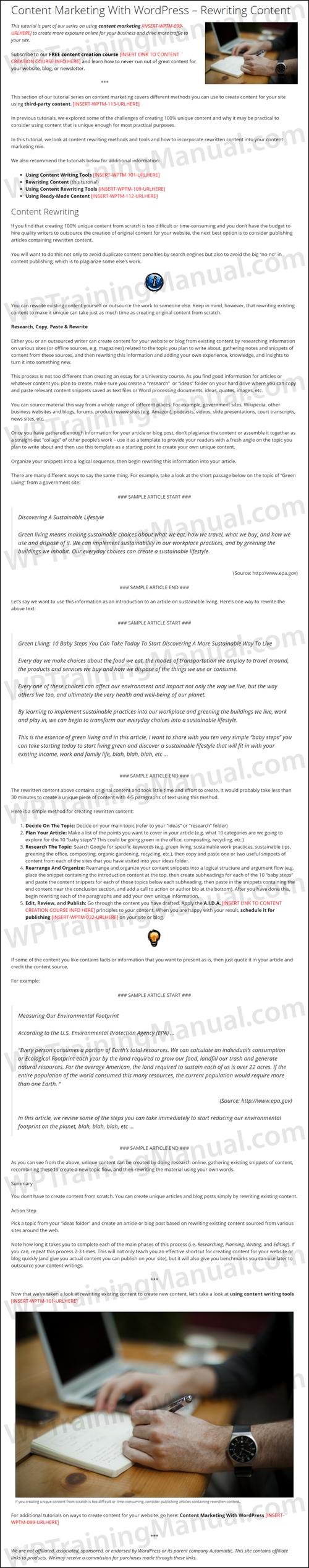 White Label Tutorial: Content Marketing With WordPress - Rewriting Content - WPTrainingManual.com