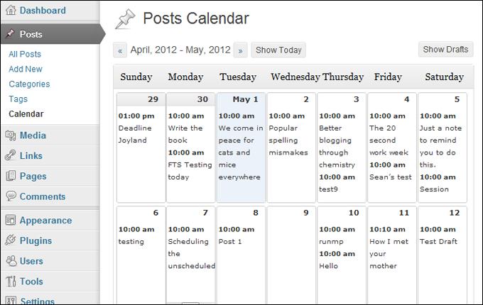 Posts Calendar screen.