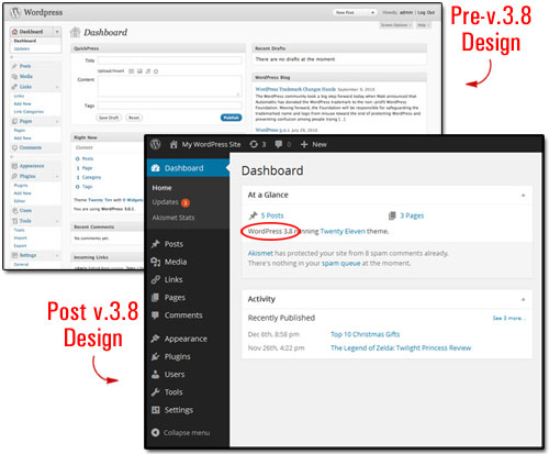 WordPress Dashboard design changes
