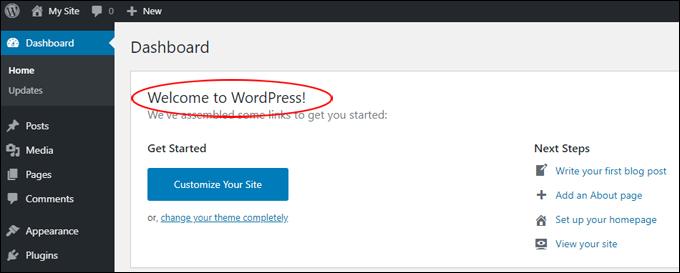 Welcome to WordPress panel