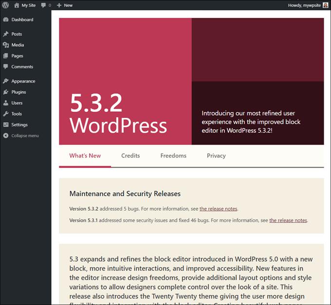 WordPress version update information.