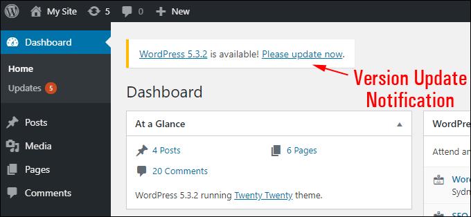WordPress Dashboard - Version update notification.