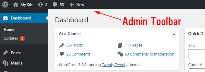 WordPress Dashboard Admin Toolbar
