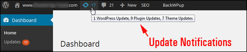 Admin Toolbar - Update notifications