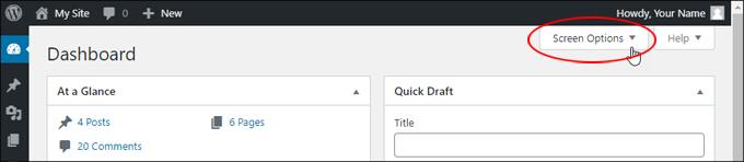 Screen Options Tab