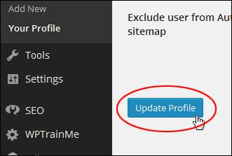Update Profile button