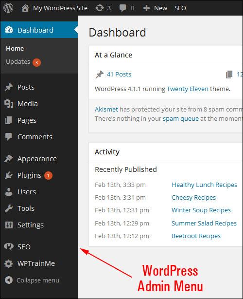 The main WordPress admin menu