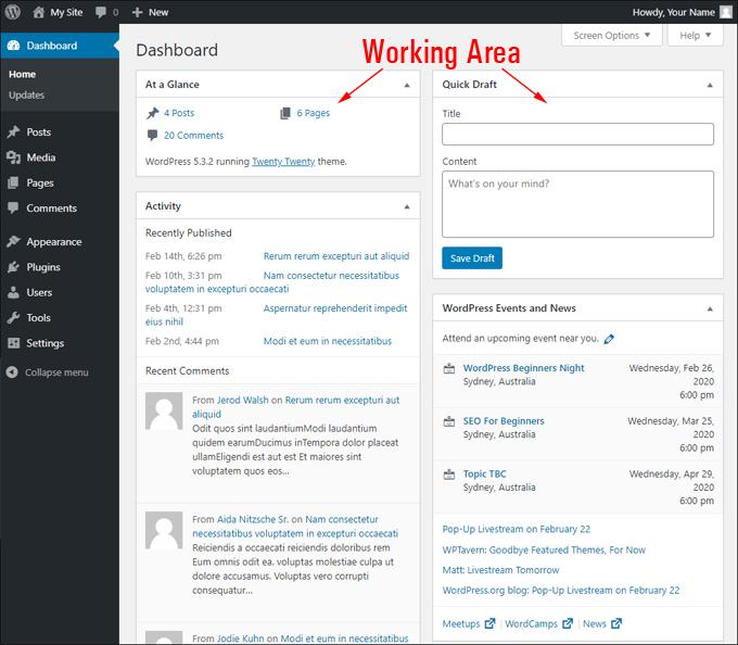 WordPress Dashboard Working Area