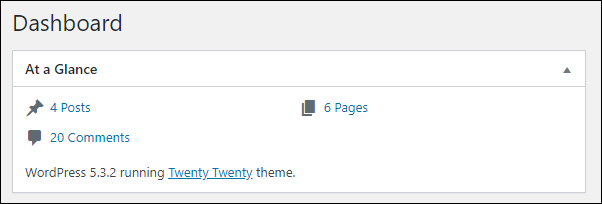 WordPress Dashboard 'At a Glance' section