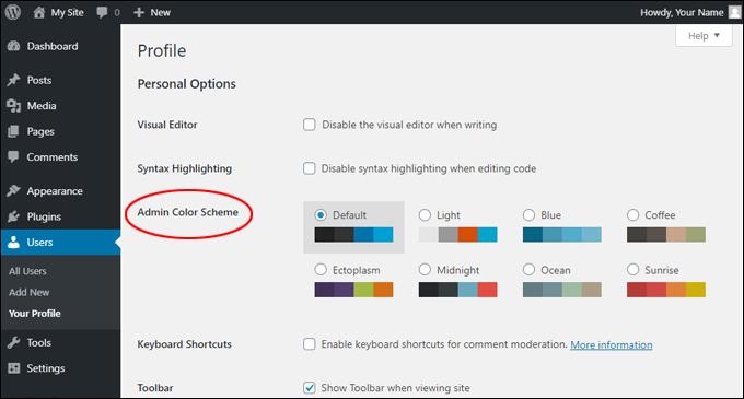 Profile > Admin Color Scheme