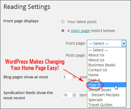Reading Settings > Front Page drop-down menu.