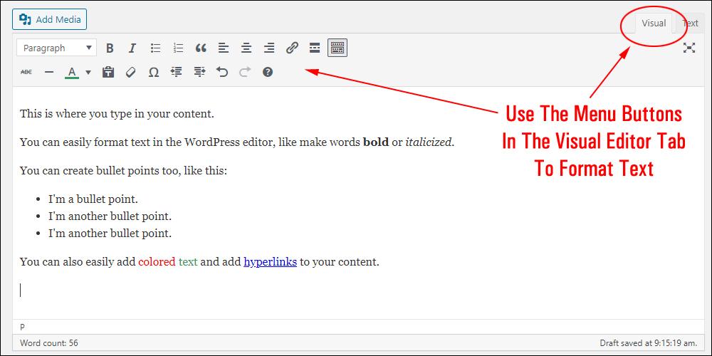 WordPress Visual Content Editor.