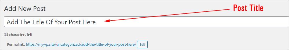 Add New Post - Post Title field.