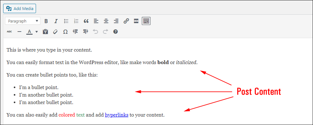 WordPress Post editor screen with sample formatted text - Classic Editor