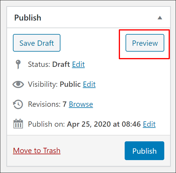 WordPress Post Publishing Section - Post Preview button.