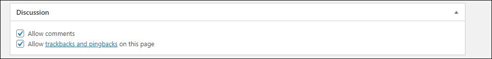 WordPress Post Discussion settings.