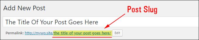 WordPress Post Permalink (Post Slug) field.