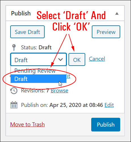 WordPress Post Publish section - Draft Status