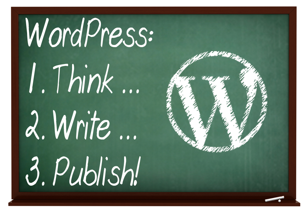 Blackboard image with WordPress logo - WordPress: 1.Think, 2. Write, 3. Publish.