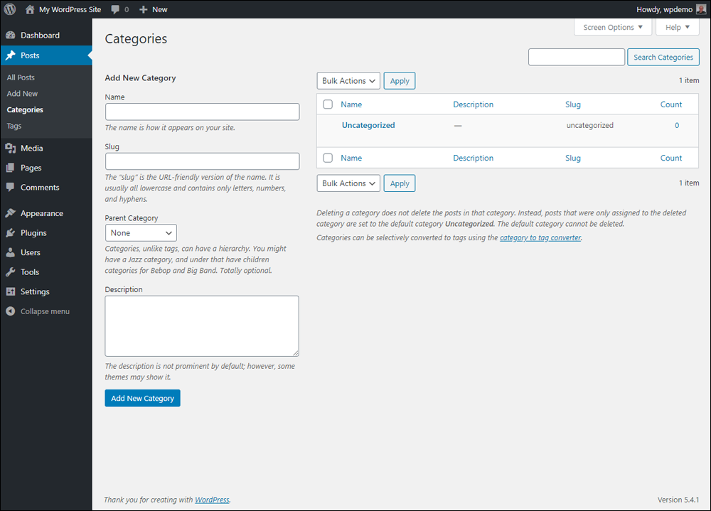 WordPress Post Categories screen.