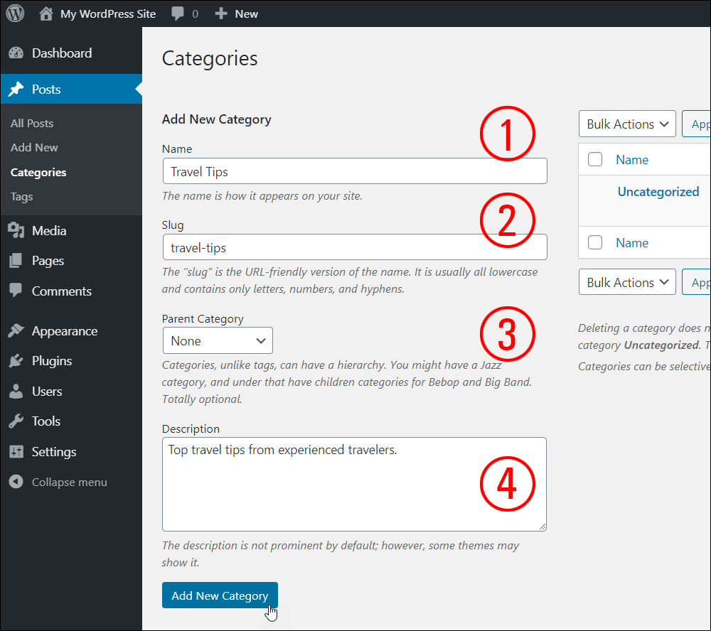 WordPress Post Categories screen - Add New Category fields
