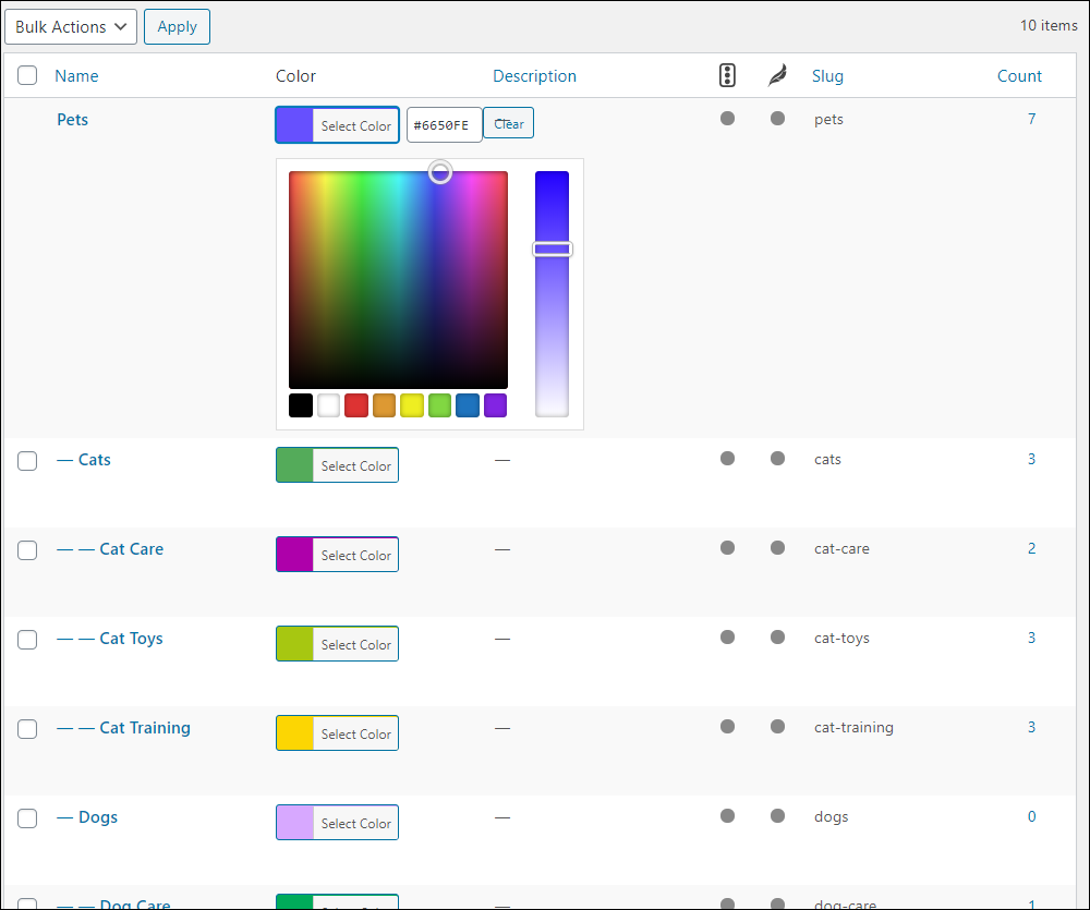 WordPress Table of Categories with Colorful Categories plugin installed.